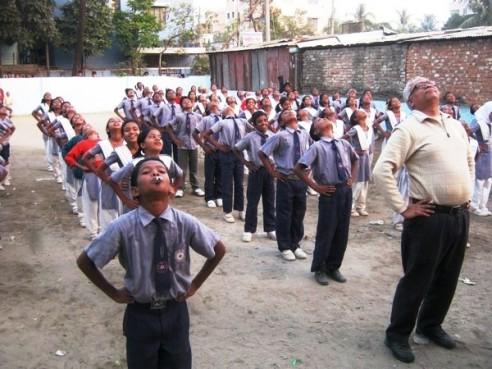 Anwar khan doing Exercise with students Haiishahar